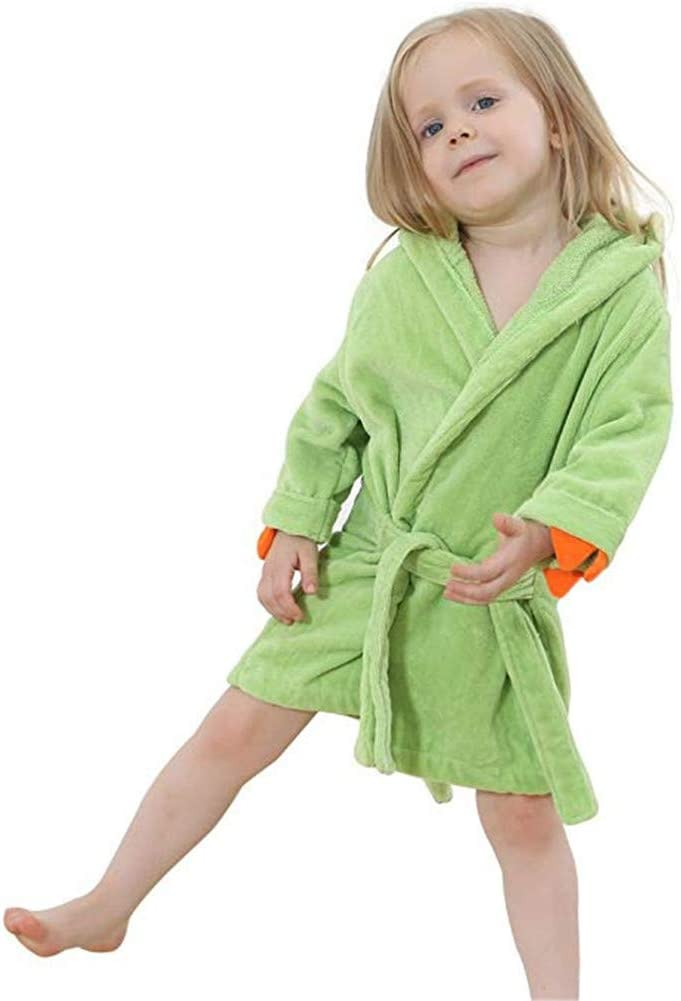 "BAOPTEIL Toddler Cotton Bathrobe Baby Boy Girl Dinosaur Hooded Bath Towel Robe for Kids (Green, 1-3T/(Length-19.7"")): Home & Kitchen"