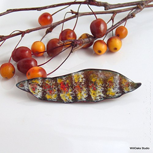 Enameled Bird Pin (Feather Inspired Striped Art Lapel Pin, Enameled Copper Handmade Brooch)
