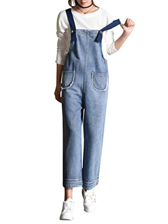 a3d2a63f5865 Amazon.com  Sobrisah Women s Casual Baggy Wide Leg Cropped Denim Jumpsuit  Loose Bib Jeans Suspender Pants with Pockets  Clothing