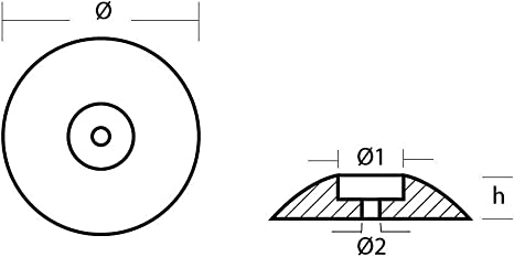 Tecnoseal 00101AL Flansch aus Aluminium /Ø70mm Anode f/ür Bootsbau Nautica