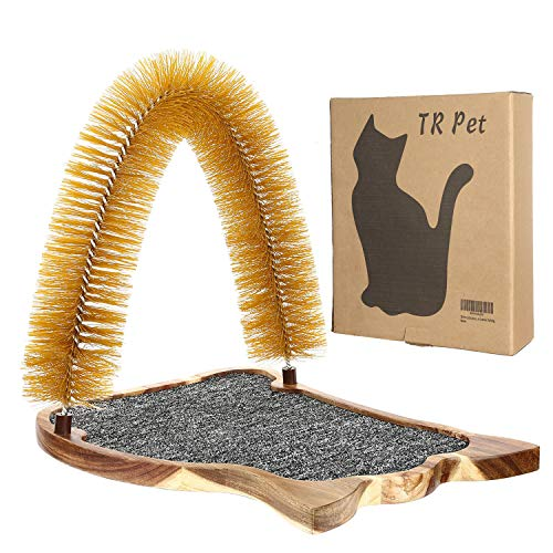 Cat Scratcher Grooming Arch Toy – Pet Cat Arch Self Groomer Massager Fur Groom Scratcher Toys Brush Controls Shedding Acacia Wood Mat Construction