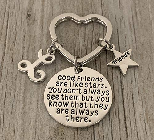 Personalized Best Friends Charm Keychain with Letter Initial- Custom Good Friends are Like Stars Key chain- Friend Jewelry for Women- Perfect Gift for Her