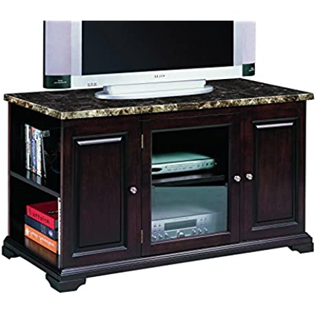 Crown Mark Harris RTA Entertainment Console With Storage 48 Inch Espresso With Faux Marble