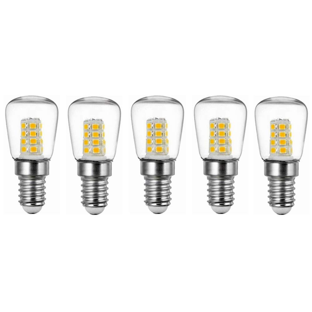 NANGE 3W E14 Refrigerator LED Bulb,AC220V Bright Indoor Lamp for Fridge Freezer Crystal Chandeliers Lighting Bulbs,5pcs (Color : Warm White)