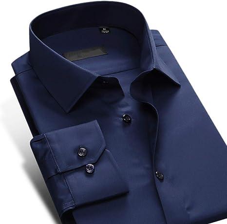 MKDLJY Camisas Camisa de Vestir de paño Ancho de fácil Cuidado para Hombres, Azul Marino, Manga Larga, Corte Slim, Ropa de Oficina de Negocios Masculina sin Arrugas Camisas Formales sólidas: Amazon.es: Deportes