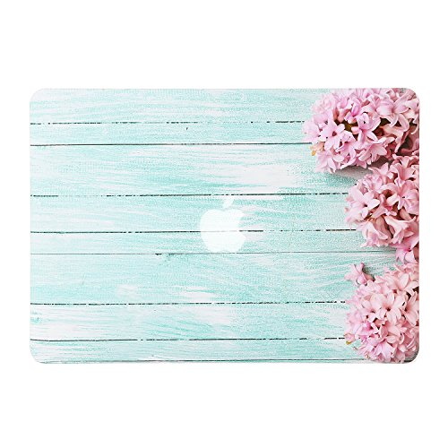 iDonzon Hyacinths Turquoise Wooden MacBook Air 13 inch Case, Soft-Touch Matte Plastic Hard Protective Case Cover Only for MacBook Air 13.3 inch (Model: A1369 & A1466)