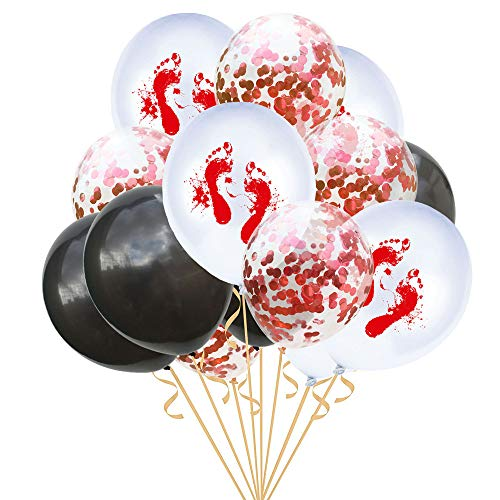 (USLovee3000 Clearance 15PCs 12'' Halloween Confetti Balloons Skeleton Print Props Party Decor)
