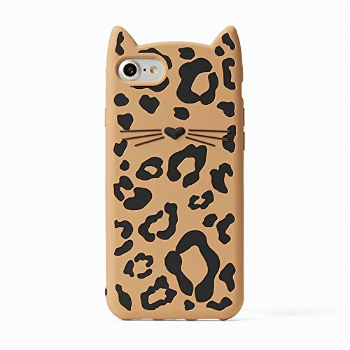 iPhone 8 Plus case, iPhone 7 Plus Case, Fashion Design 3D Cute Leopard Cat Kitty Cartoon Character Protective Skin Soft Rubber Silicone Case Back Cover for iPhone 8 Plus/ 7 (Kitty Cell)