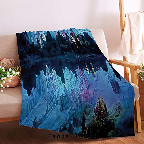 AngelSept Illuminated Reed Flute Cistern with Artifical Crystal Palace Myst Cave Image Baby Blanket.Anti-Wrinkle Function, Suitable for Living Room Sofa(36