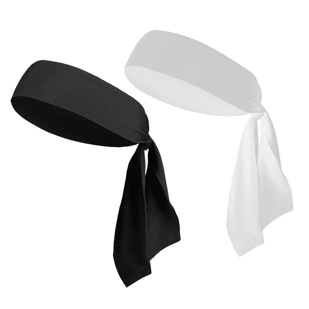 Head Tie Headbands for Men Women Kids Girls Boys, Sports Headbands Bulk Pirate Bandana Head Scarf (2Pack Black & White)