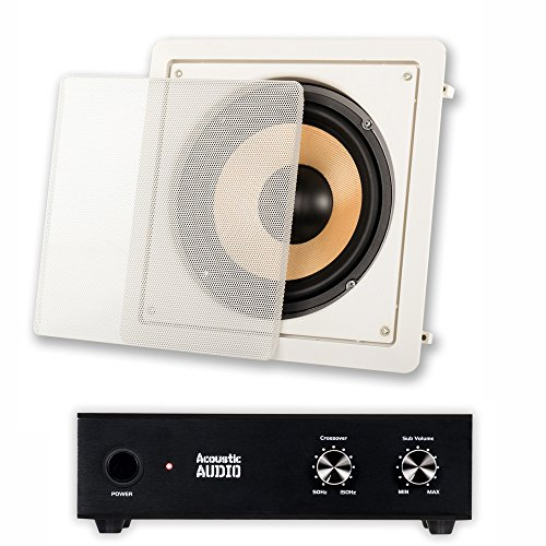 Acoustic Audio HD-S8 In Wall 8'' Home Theater Passive Subwoofer Speaker and Amplifier by Acoustic Audio by Goldwood