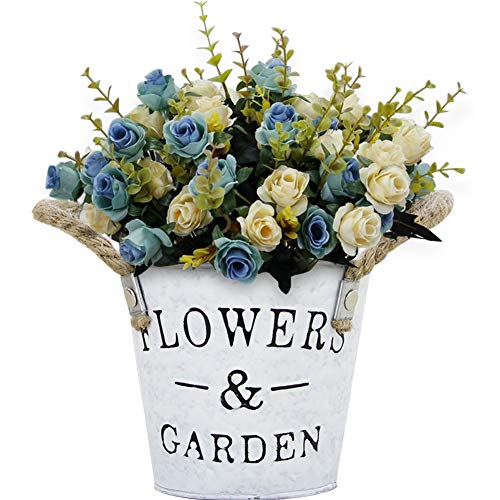 TINTON LIFE Artificial Rose Bouquets with Metal Flower Pot Fake Silk Rose Arrangements Decoration for Table Centerpieces Restaurant Home Office Wedding Windowsill Blue