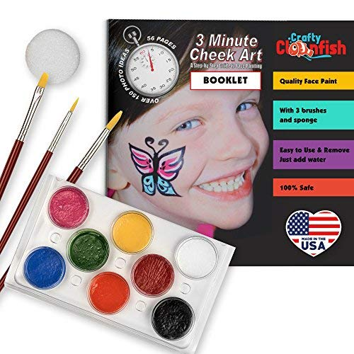 Face Painting Kit and Book - 56 Page Face Paint Book Complete Kit - Create Amazing Cheek Art - Non Toxic For Sensitive Skin Easy & Safe To Use 3 Brushes Easter Parties Schools ()