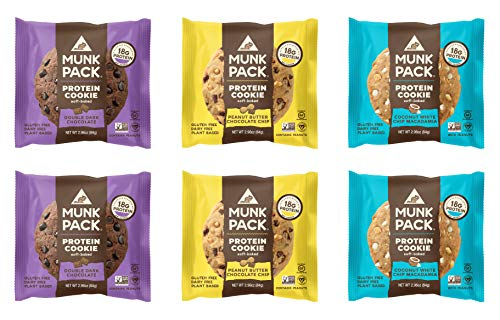 Munk Pack Variety Pack Protein Cookies with 18 Grams of Protein | Soft Baked | 3 Flavors - Peanut Butter Chocolate Chip, Double Dark Chocolate, White Chip Macadamia | 6 Pack