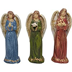 Set of 3 Angel Christian Decor Figurines in Red, Blue and Green