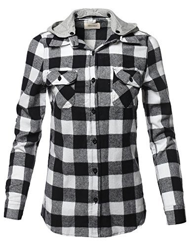 Awesome21 Casual Flannel Roll-Up Sleeves Button-Down Shirts with Hoodie Black White L -
