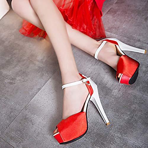 poliuretano rojo Y Tacón Peep Hebilla Invierno Con Correa negro Sandalias De Toe Mujer Blanco fiesta Aguja Otoño En Noche E Zapatos Tobillo El Pu White OftBwxqR
