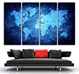 Extra Large Contemporary Wall Art Print Canvas Blue Map Of World Abstract Atlas, Oversized Map Wall Art, Living Room, Curious Blue