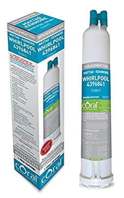 CORAL FILTERS Push Button Refrigerator Water Filter Replacement for Whirlpool 4396841, Maytag ,Kenmore