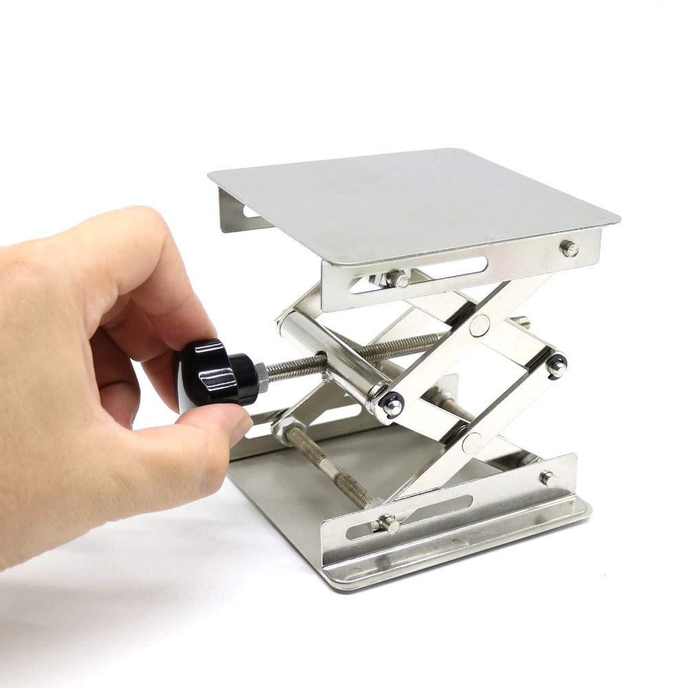 Ochoos 4X4'',100 X 100 X 150mm Stainless Steel Table, Lab-Lift Lifting Platforms Lab Scissor Stand Rack Laboratory Instrument,1 PC.