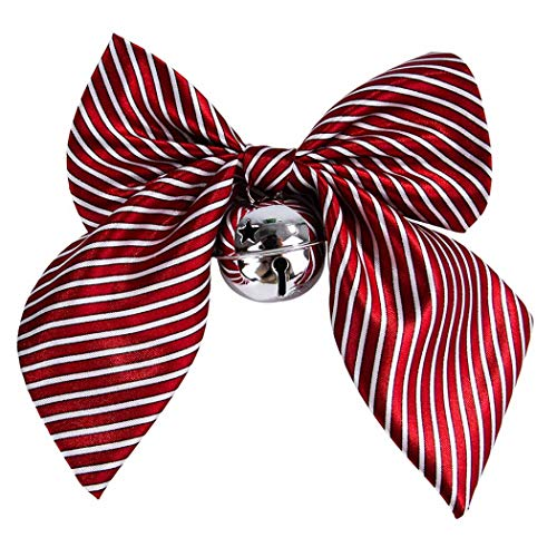 Collar Bowknot Stripe - Petea Pet Collar Dog Cat Bowknot Bell Collar Stripe Plaid Wedding Choker Collar for Dogs and Cats (Red Stripe)
