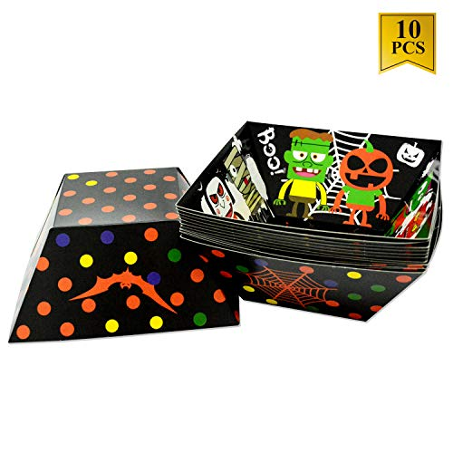 10 Pack Halloween Bowl Paper Candy Bowl Food Tray for Halloween Party Favors Candy Bags Eco-Friendly Food Disposable Boats - Cute Halloween Design]()