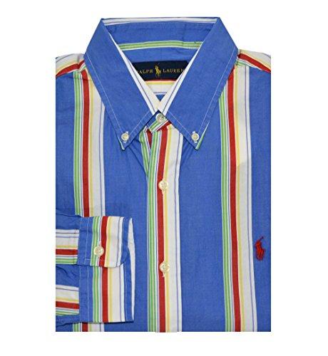Ralph Lauren Men's Button-Down Striped Poplin Shirt (Medium, Blue/Red) ()