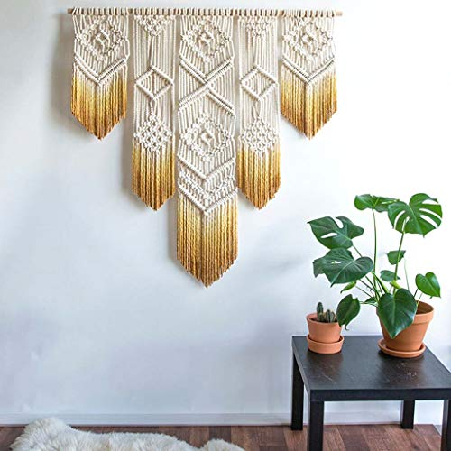 "Macrame Wall Hanging - Handmade Macrame Tapestry - Woven Wall Art - Bohemian Wall Decor- Textile Wall Hanging – 35.4""L X 31""W (Color : Yellow)"