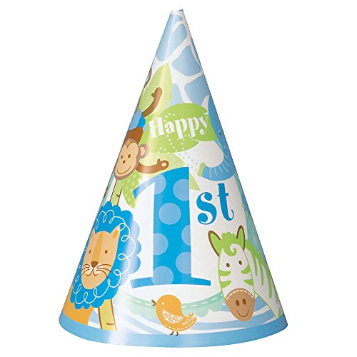 Blue Safari First Birthday Party Hats, - Birthday Boy Cone 1st Hat