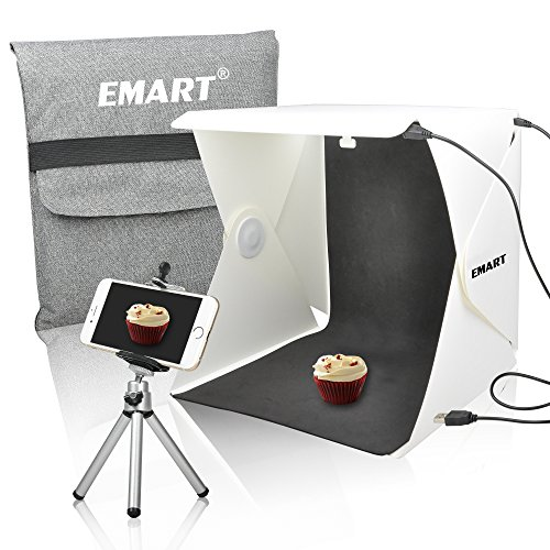 Emart 40 LED Foldable & Portable Photo Lighting Studio Shooting Tent Box Kit include White/ Black Background, USB cable, adjustable Tripod Stand Holder for iPhone