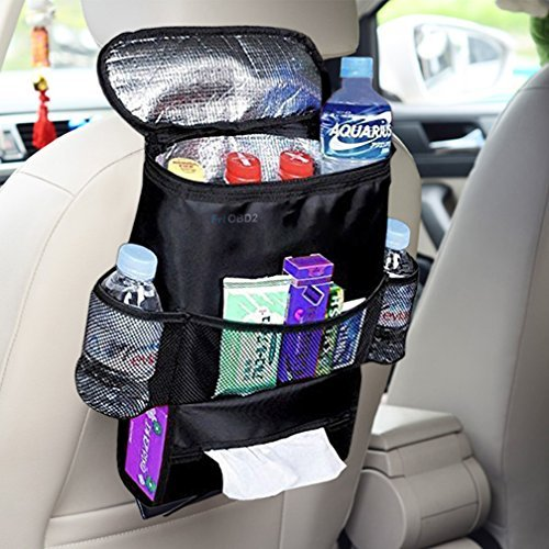 AUCHEN Car Seat Back Organizer Environmental Multi-Pocket Travel Storage Bag with Bottle Holder Tissue Box Drinks Cooler ( Heat Preservation ) (Auto Holders Drink Cars)