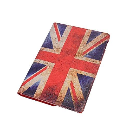 iPad Air 2 Estuche de Cuero para Negocios,elecfan ® SmartCase Sueño para iPad Air 2 / 360 Grados de Cuero Caso del Protector de Pantalla Soporte de la Cubierta (iPad Air 2, Negro) Bandera-UK