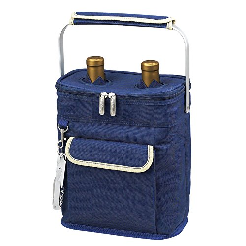 - Picnic at Ascot 2 Bottle Insulated Wine Tote Collapsible Multi Purpose Cooler, Blue/Cream