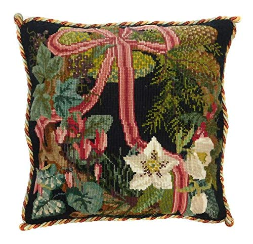 (Winter Wreath Needlepoint Tapestry Kit with black background from Elizabeth Bradley premium English needlework pillow or rug project with 100% wool yarns. Victorian Flowers Collection.)