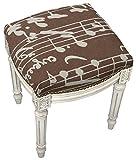 SketchONE Linen Upholstered Vanity Stool, Sheet Music, Chocolate