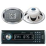 Lanzar AQMP70BTB Single DIN In Dash Bluetooth AUX USB MMC SD MP3 Boat Receiver, 2x Lanzar AQ69CXS 6x9 Marine Water Resistant 2 Way 500 Watt Silver Speakers