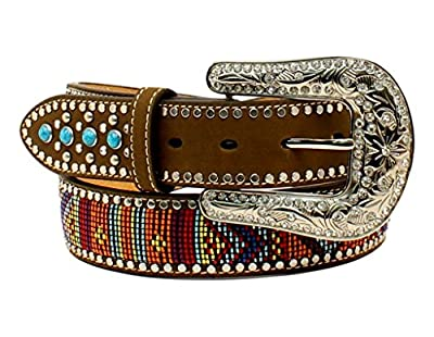 M&F Western Women's Turquoise Stone Tab Belt with Beaded Embroidery