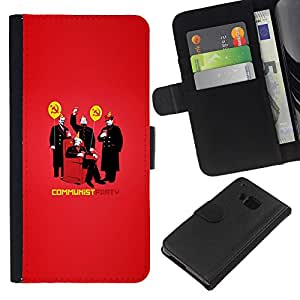 KLONGSHOP // Tirón de la caja Cartera de cuero con ranuras para tarjetas - DIVERTIDO HILARANTE PARTIDO COMUNISTA - HTC One M9 //