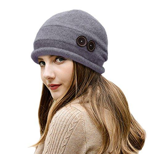 Lawliet New Womens 100% Wool Slouchy Wrinkle Button Winter Bucket Cloche Hat T178 (Gray)