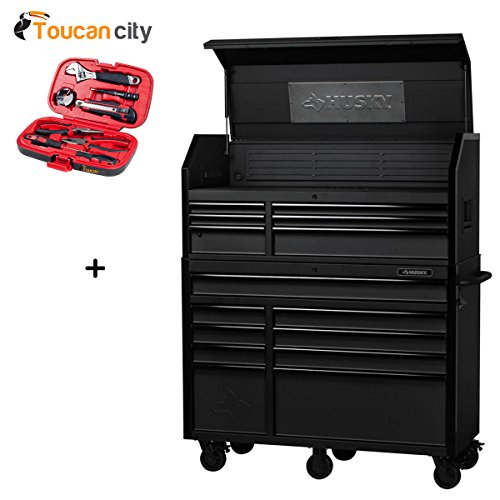 Husky 52 in. 15-Drawer Industrial Tool Chest and Cabinet Combo H52CH6TR9HD and Toucan City Tool Kit (9-Piece)