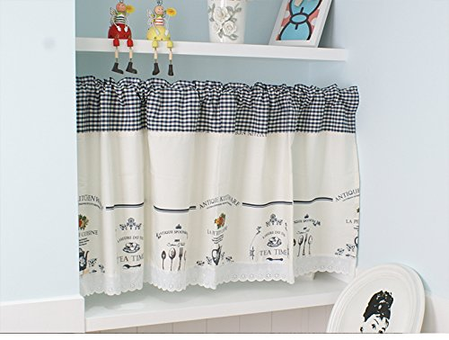 WPKIRA Rod Pocket Top Window Treatments Lovely Lace kitchen Curtain Valance Shades/Glass Door Curtain Panels Western Restaurant Cafe Half Curtain 1 PC W55 x H39 inch