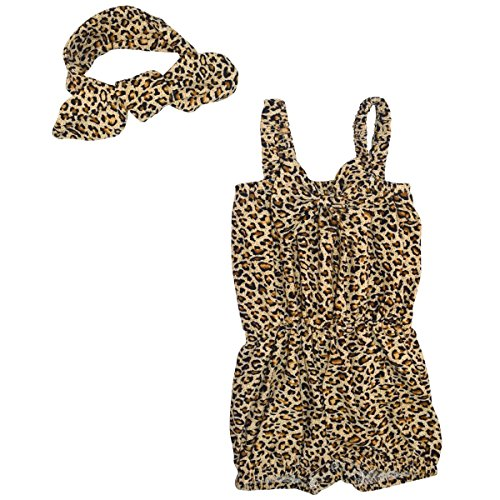 Unique Baby Girls Leopard Print Romper Headband Set 6-12 Months