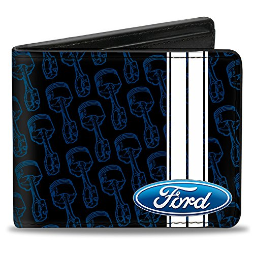 Ford Automobile Company Engine Parts Collage Fun Bi-Fold Wallet (Ford Items)