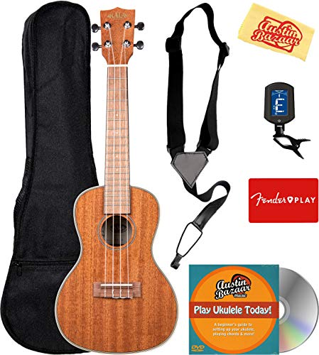 Kala KA-CG Glossed Mahogany Concert Ukulele Bundle with Gig Bag, Tuner, Strap, Fender Play, Instructional DVD, and Austin Bazaar Polishing Cloth