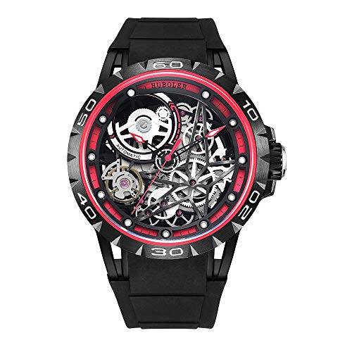 Huboler Men's Watch Skeleton Automatic Mechanical Stainless Steel Wrist Watches (RED Black)