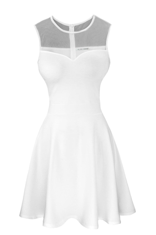 Sylvestidoso Women's A-Line Sleeveless Pleated Little White Cocktail Party Dress (XL, Off White)