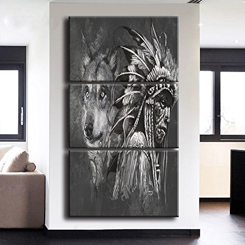 Indian Decor (Wall Pictures for Living Room Canvas Print Modern Home Decor Painting Native American Indian with Wolf Artworks Black and White 3 Piece Framed Stretched Ready to Hang (14x20 Inch/3pcs))