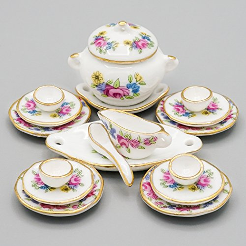 Odoria 1:12 Miniature 18PCS Porcelain Tableware Pink Rose Dollhouse Kitchen ()