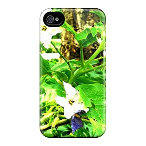 Special HHaroldshon Skin Case Cover For Iphone 4/4s, Popular Amazing Purple White Flowers Phone Case
