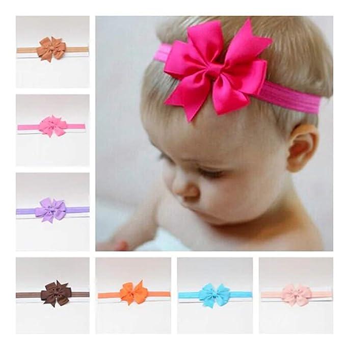 74c69ba4239 Moño Diadema para Bebé Niñas - Ajustables Accesorios para Pelo y Cabeza bebé  - 5PACK
